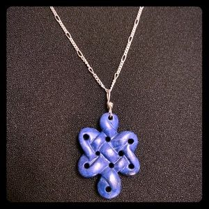 Jewelry - Lapiz carved pendant and sterling chain